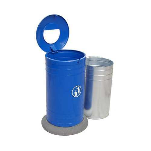 Kosz na śmieci blaszany okrągły na betonowej podstawie niebieski