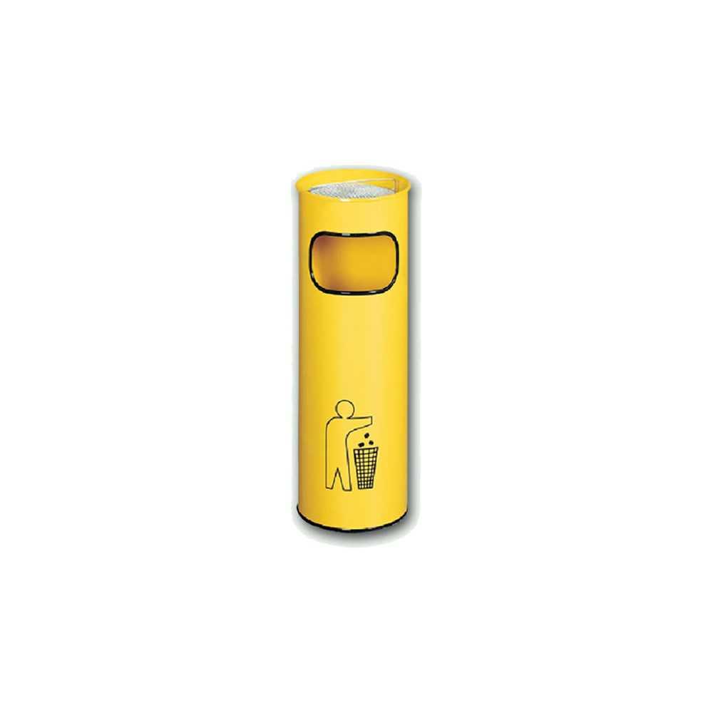 Kosz na śmieci popielnica stalowy średnica 24 cm kolor żółty