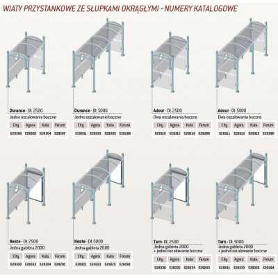Wiaty przystankowe z okrągłymi słupkami schemat modeli