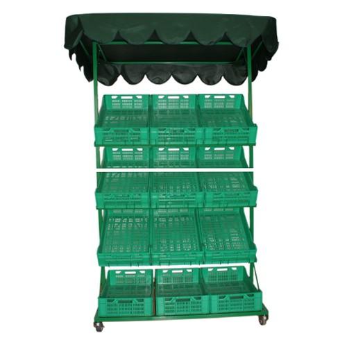 Stragan warzywny mobilny z 8 skrzynkami