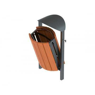 Kosz na śmieci kwadratowy Silaos drewniany 50 litrów