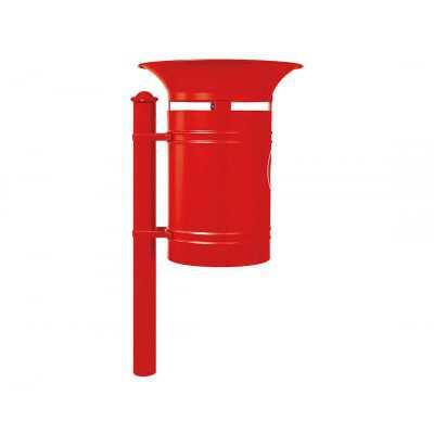 Kosz na śmieci okrągły Walencja 40 l stalowy czerwony