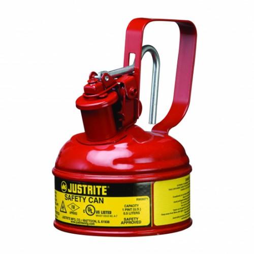 Pojemnik zabezpieczający stalowy na płyny łatwopalne 0,5 l, Typ I, czerwony