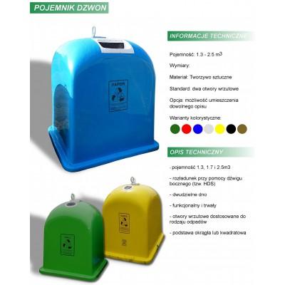 Pojemnik na śmieci dzwon podstawa kwadratowa karta produktu