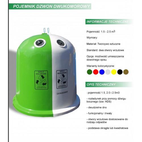Pojemnik kosz na śmieci dzwon dzielony okrągły dwukomorowy karta produktu