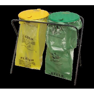 Stojak na worki podwójny na śmieci metalowy