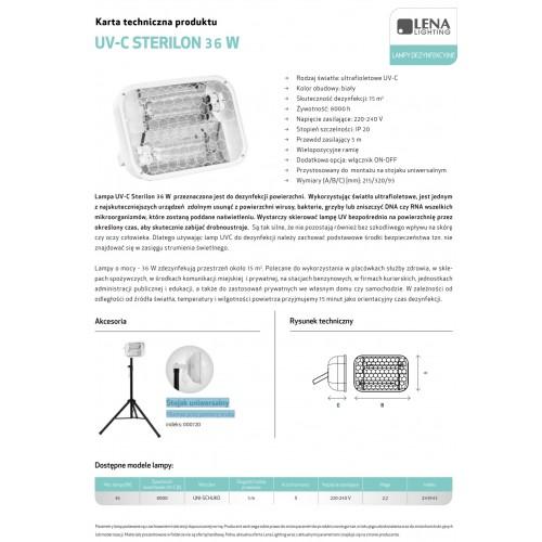 Lampa bakteriobójcza UV-C STERILON 36W do 15m2 243943