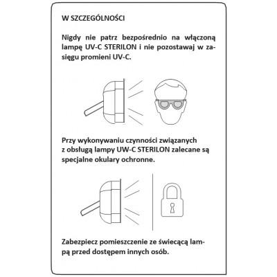 Lampa bakteriobójcza UV-C STERILON uwaga dla klientów