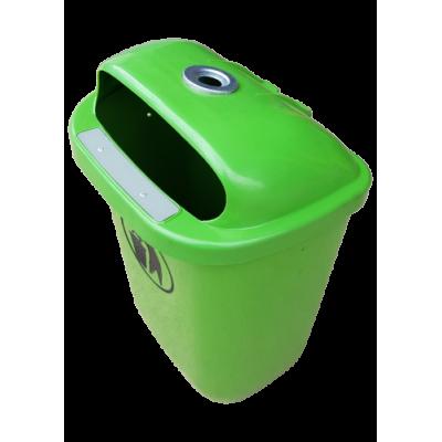Kosz na śmieci miejski ogrodowy uliczny z tworzywa zielony z popielnicą kolor zielony