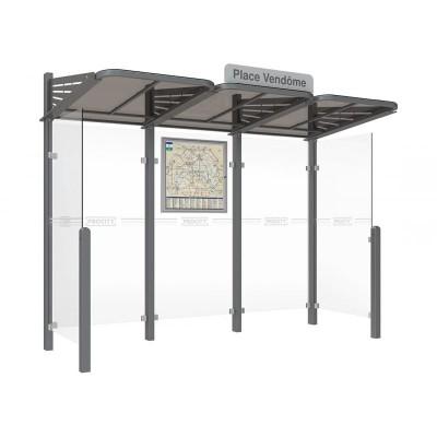 Wiata przystankowa Conviviale standard wersja boczne oszalowania ściany szklane