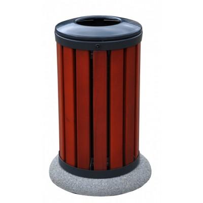 Kosz na śmieci okrągły drewniany z podstawą betonową wolnostojący 45 litrów
