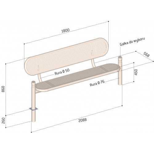 Ławka zewnętrzna metalowa Estoril wymiary ławki