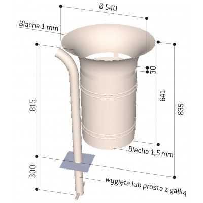 Kosz na śmieci okrągły Walencja 40 l stalowy wymiary rysunek techniczny