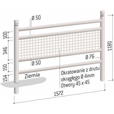 Bariera miejska drogowa ogrodzenie 157 cm Linea wymiary