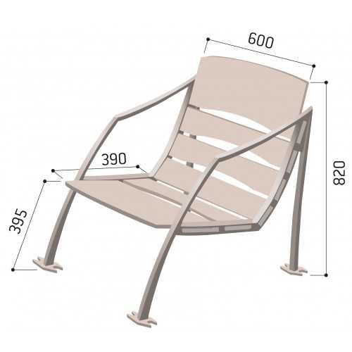 Fotel miejski ogrodowy metalowy Mediolan wymiary karta produktu