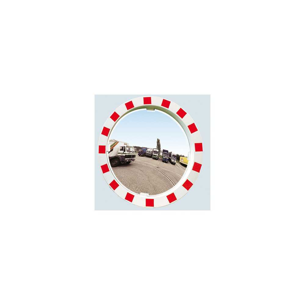 Lustro drogowe nietłukące biało czerwone okrągłe