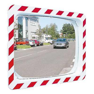 Lustro drogowe nietłukące biało czerwone prostokątne